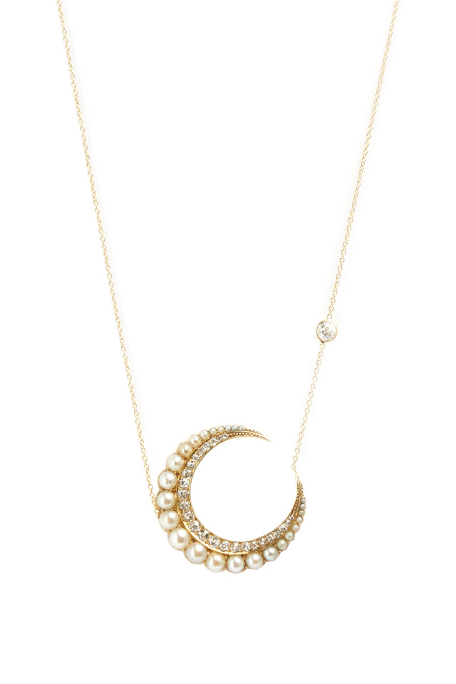 Gold Natural Pearl Diamond Crescent Moon Pendant