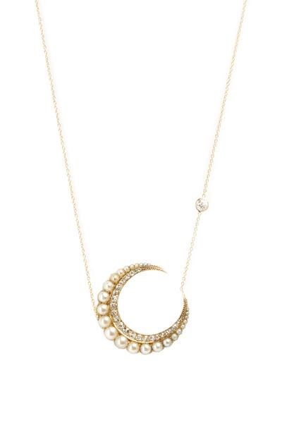 Renee Lewis - Gold Natural Pearl Diamond Crescent Moon Pendant