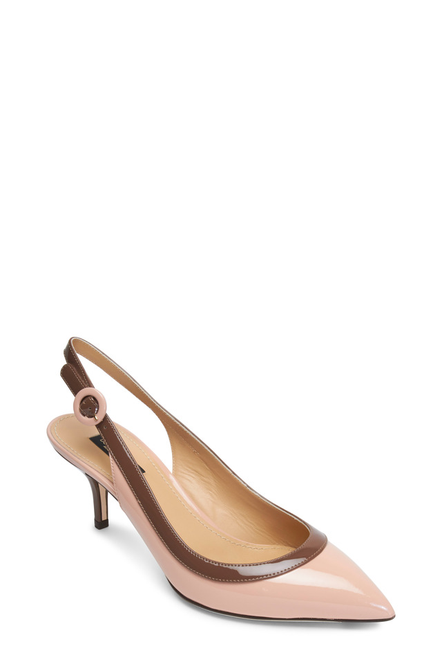 Nude & Brown Patent Leather Trim Slingbacks