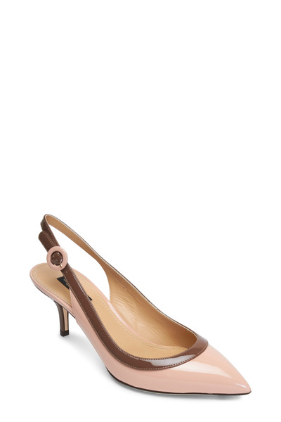 Dolce & Gabbana - Nude & Brown Patent Leather Trim Slingbacks