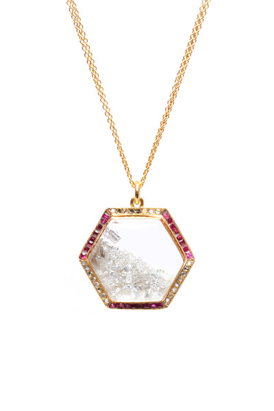 Renee Lewis - Yellow Gold Diamond & Ruby Rim Shake Necklace