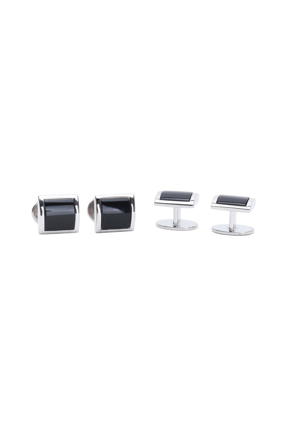 Jan Leslie Sterling Silver Black Onyx Stud Set