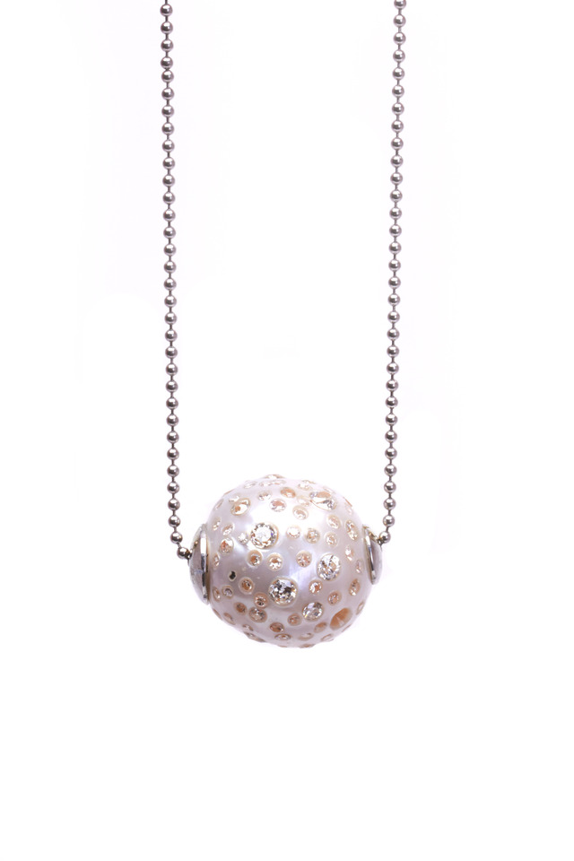 Gold White South Sea Stud Pearl Diamond Necklace