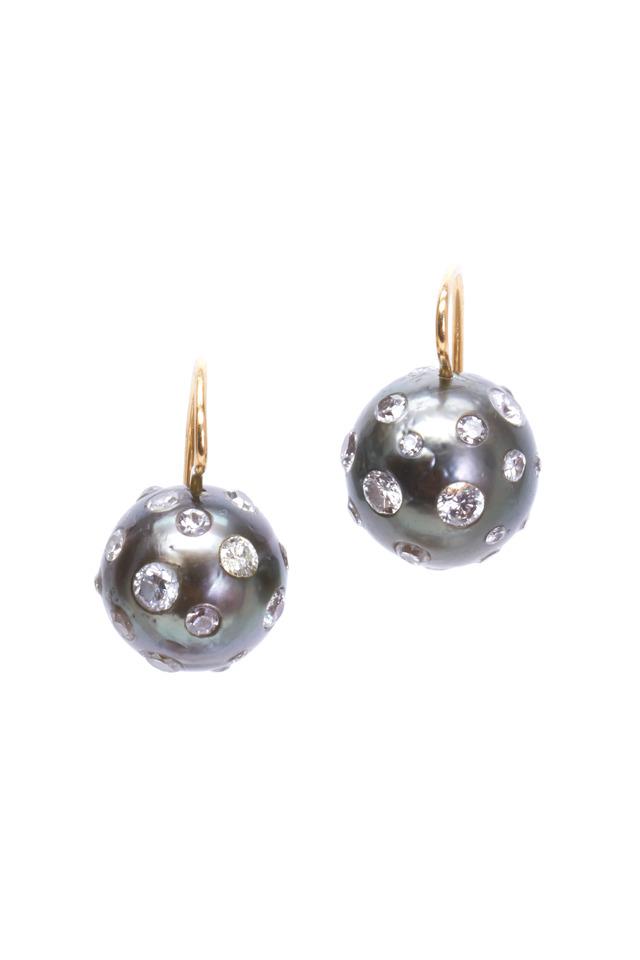 Gold Black South Sea Pearl Diamond Earrings