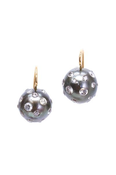 Renee Lewis - Gold Black South Sea Pearl Diamond Earrings