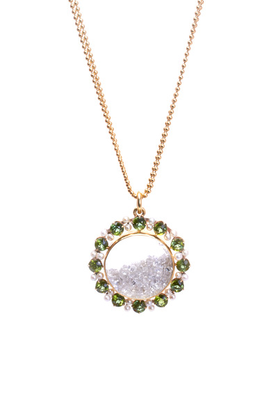 Renee Lewis - Gold Peridot & Antique Diamond Shake Necklace