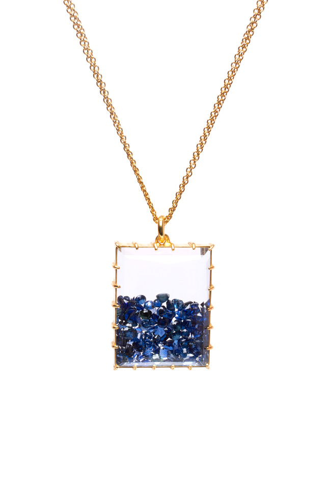 Yellow Gold Blue Sapphire Shake Necklace