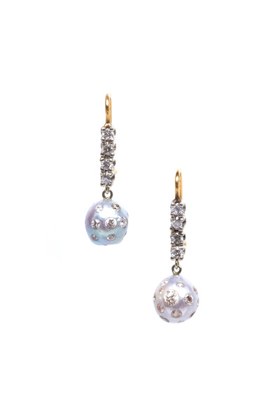 Renee Lewis - Gold White South Sea Stud Pearl Diamond Earrings