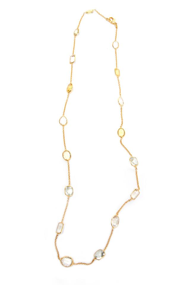 Gold Antique Aqua & Citrine Stone Chain Necklace
