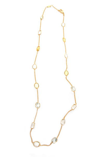 Renee Lewis - Gold Antique Aqua & Citrine Stone Chain Necklace