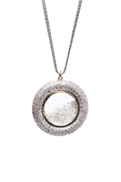 Renee Lewis - White Gold Pavé Diamond Rim Shake Necklace