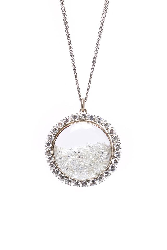White Gold Diamond Rim Shake Necklace