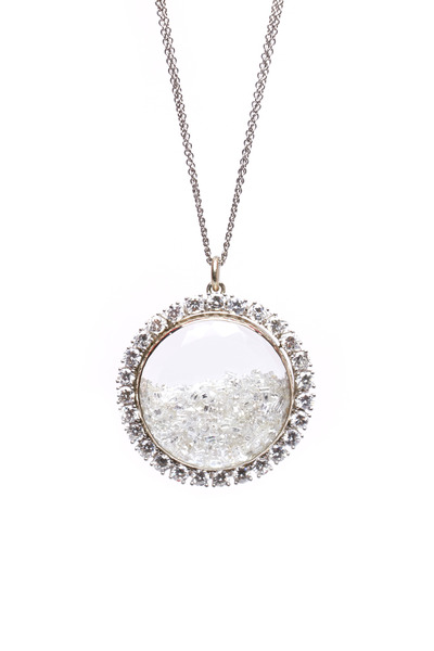 Renee Lewis - White Gold Diamond Rim Shake Necklace