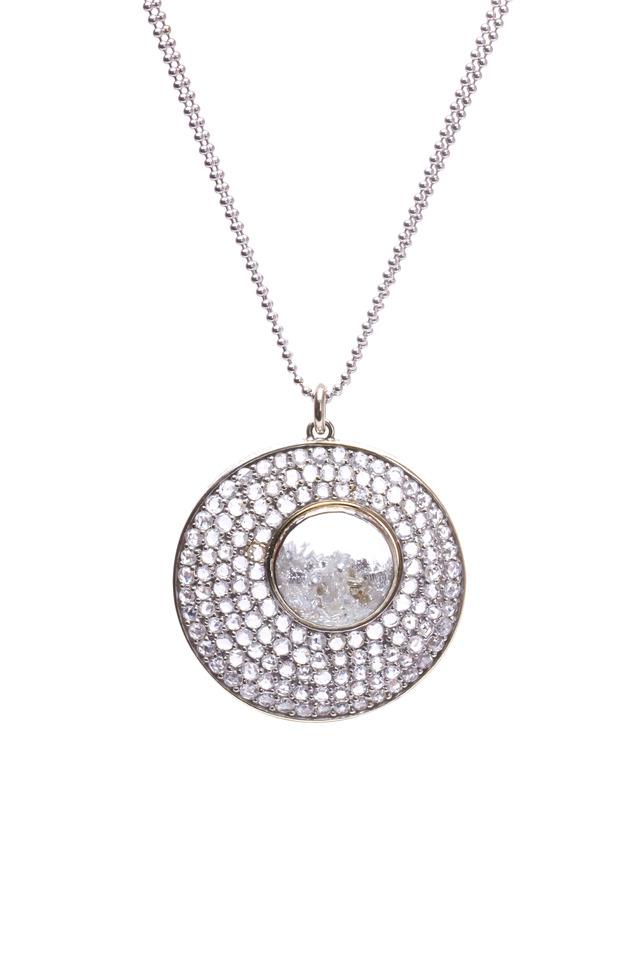 Amoeba White Gold Pavé Diamond Shake Necklace