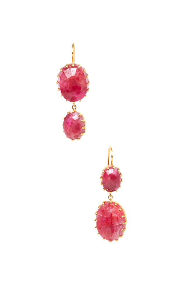Yellow Gold Natural Ruby Earrings