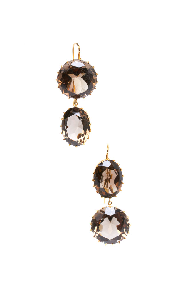 Yellow Gold Smokey Quartz Earrings