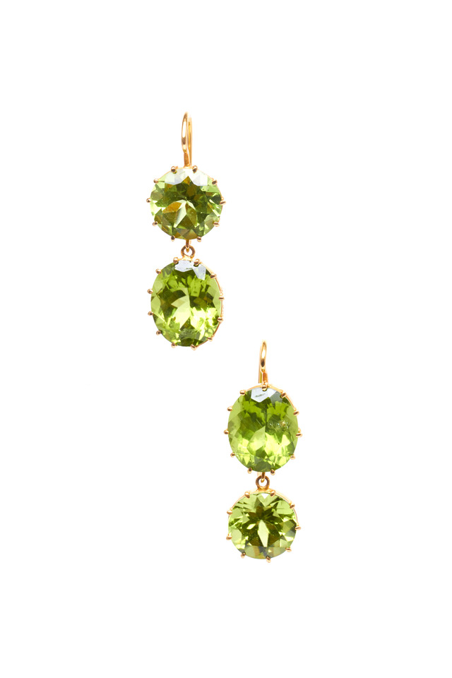 Yellow Gold Antique Peridot 2 Point Earrings