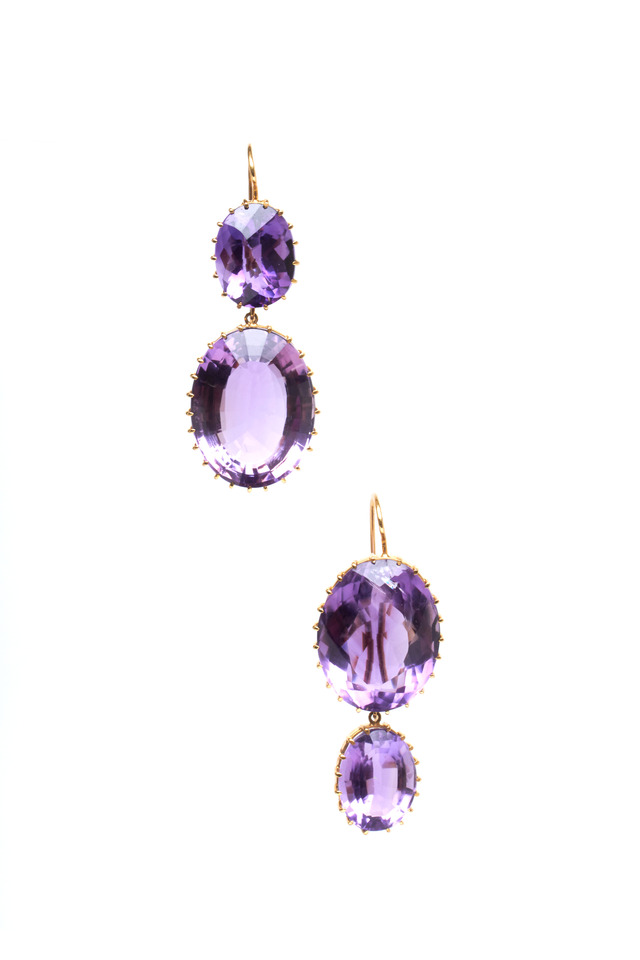 Yellow Gold Amethyst 2 Point Earrings