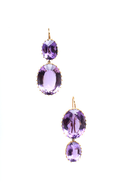 Renee Lewis - Yellow Gold Amethyst 2 Point Earrings