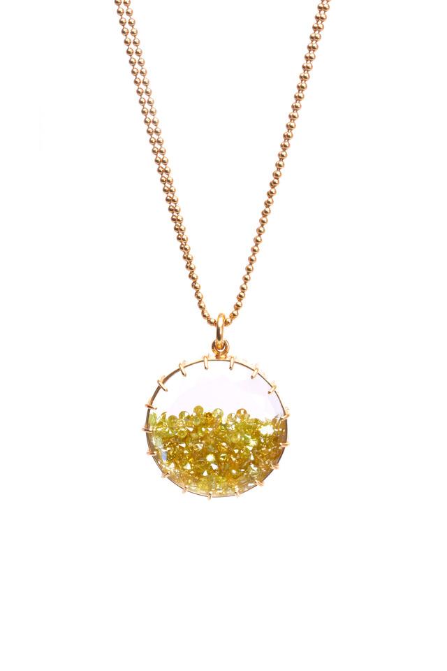 Yellow Gold Yellow Diamond Shake Necklace
