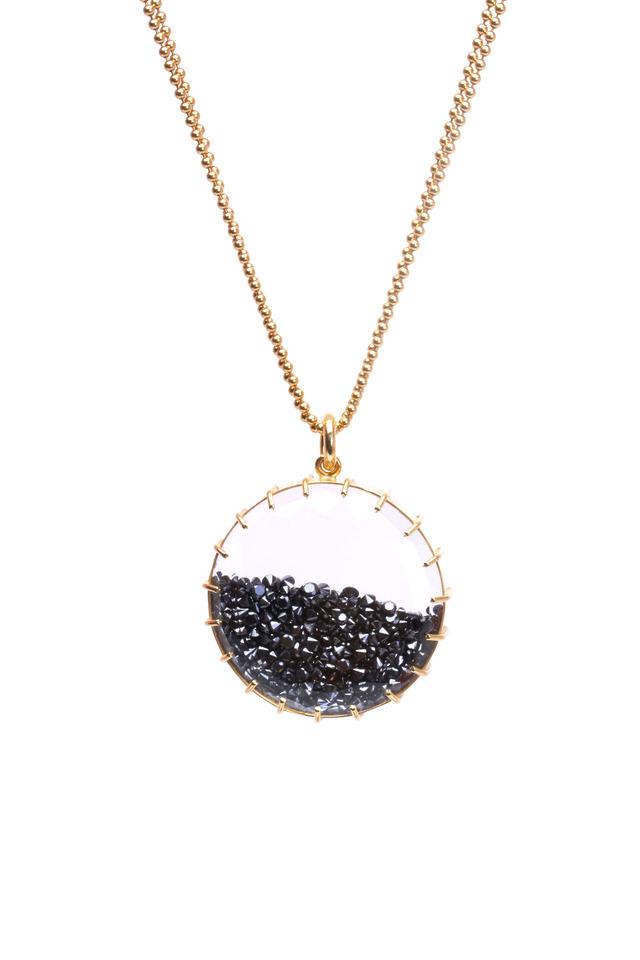 Yellow Gold Black Diamond Shake Necklace