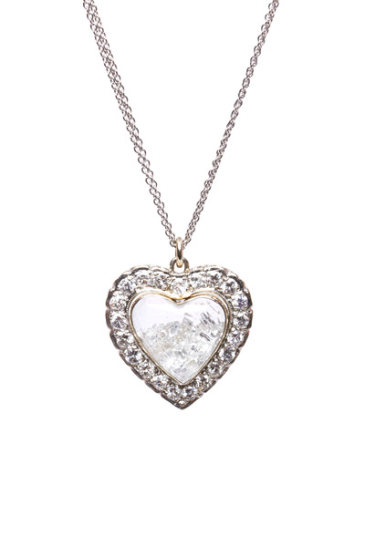 Renee Lewis - White Gold Diamond Rim Heart Shake Necklace