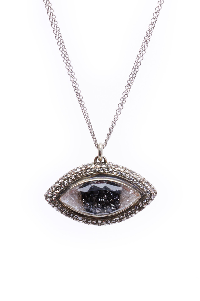 Gold Black & White Diamond Rim Third Eye Necklace
