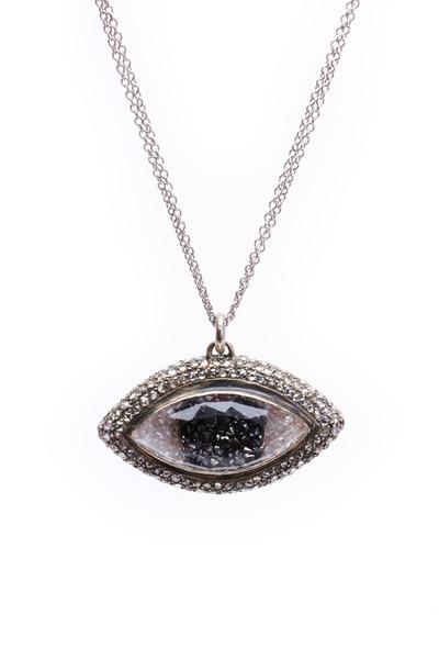 Renee Lewis - Gold Black & White Diamond Rim Third Eye Necklace