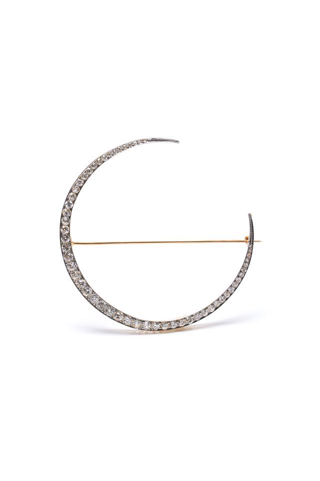 White Gold Antique Diamond Crescent Brooch