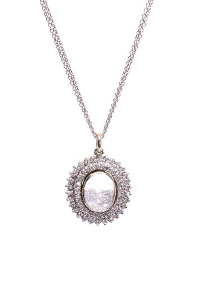Renee Lewis - White Gold Diamond Rim Shake Necklace