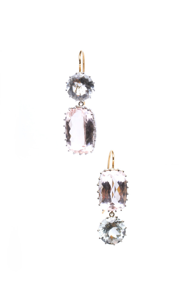 White Gold Pink Kunzite Aqua Stone Earrings