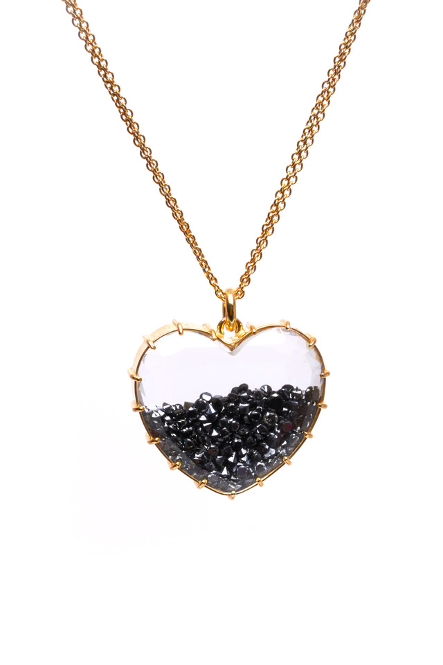 Yellow Gold Black Diamond Heart Shake Necklace