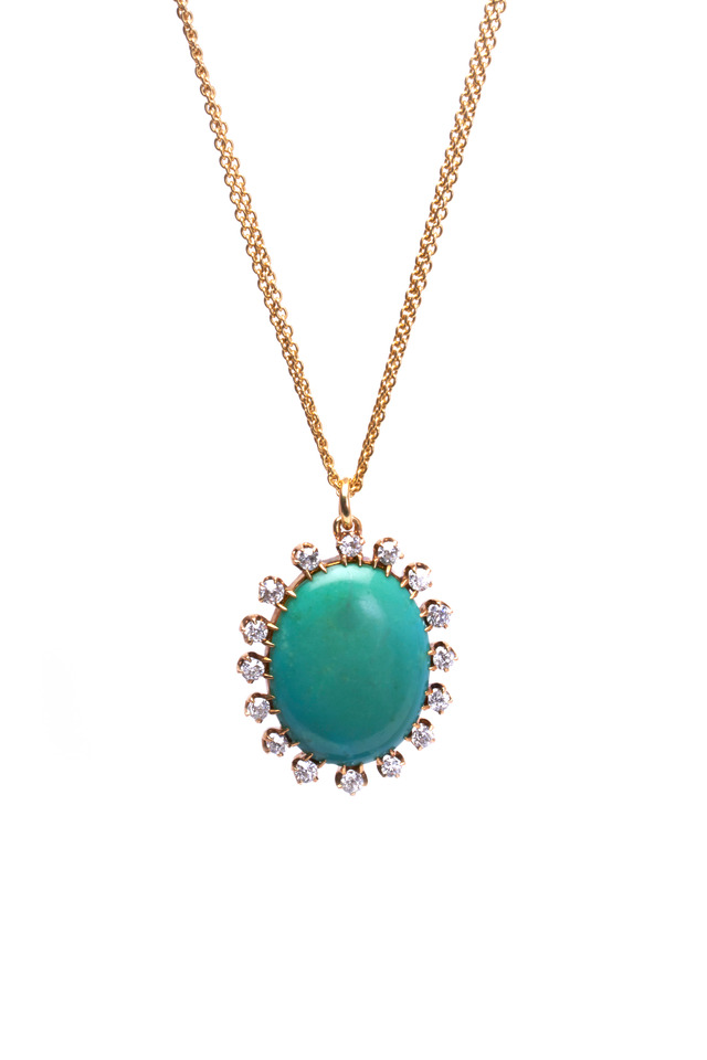 Gold Oval Persian Turquoise Diamond Necklace
