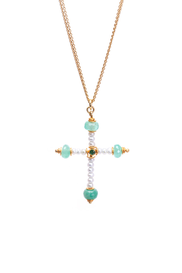 Yellow Gold Emerald Pearl Cross Necklace