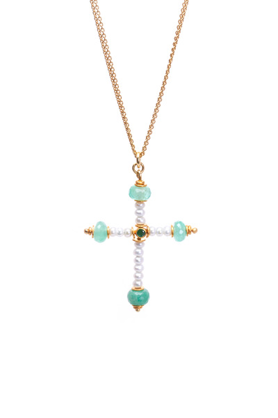 Renee Lewis - Yellow Gold Emerald Pearl Cross Necklace