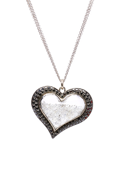 Renee Lewis - White Gold Black Rim Heart Diamond Shake Necklace