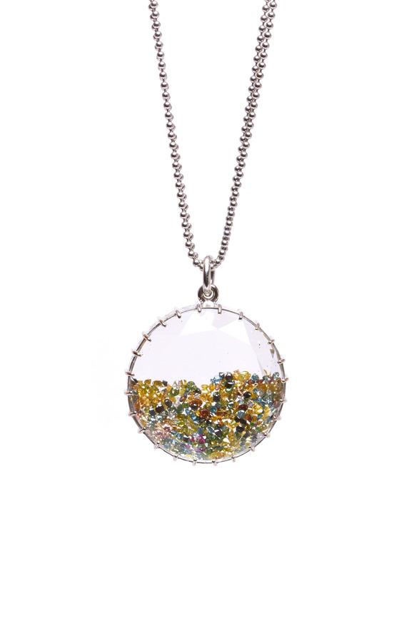 Renee Lewis White Gold Colorful Diamond Shake Necklace