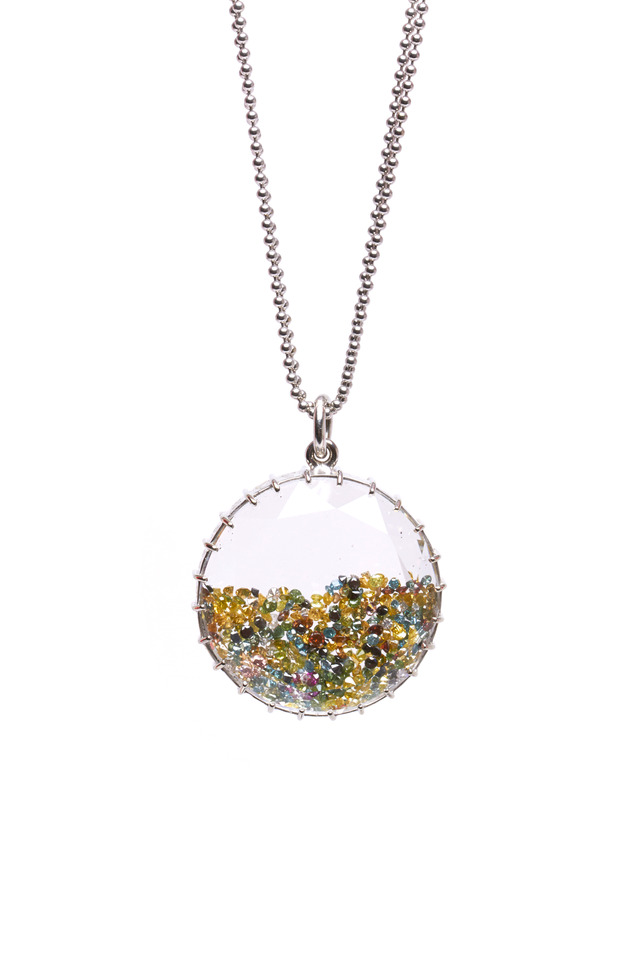 White Gold Colorful Diamond Shake Necklace