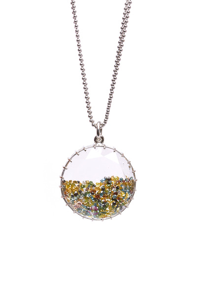 Renee Lewis - White Gold Colorful Diamond Shake Necklace