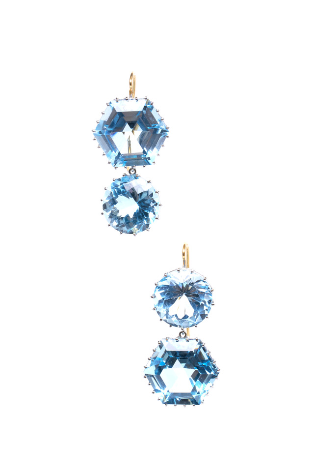 White Gold Aquamarine Blue Topaz Earrings