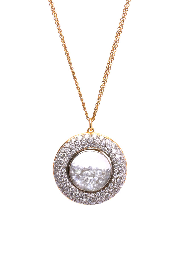 Yellow Gold Diamond Rim Shake Necklace