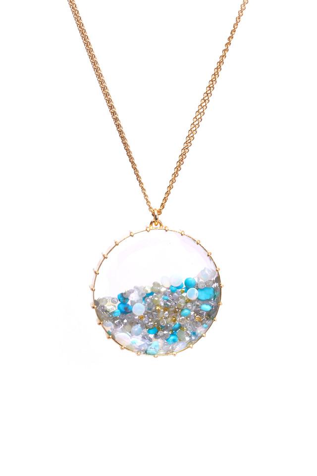 Gold Opal Aqua Turquoise Diamond Shake Necklace