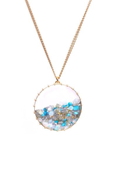 Renee Lewis - Gold Opal Aqua Turquoise Diamond Shake Necklace