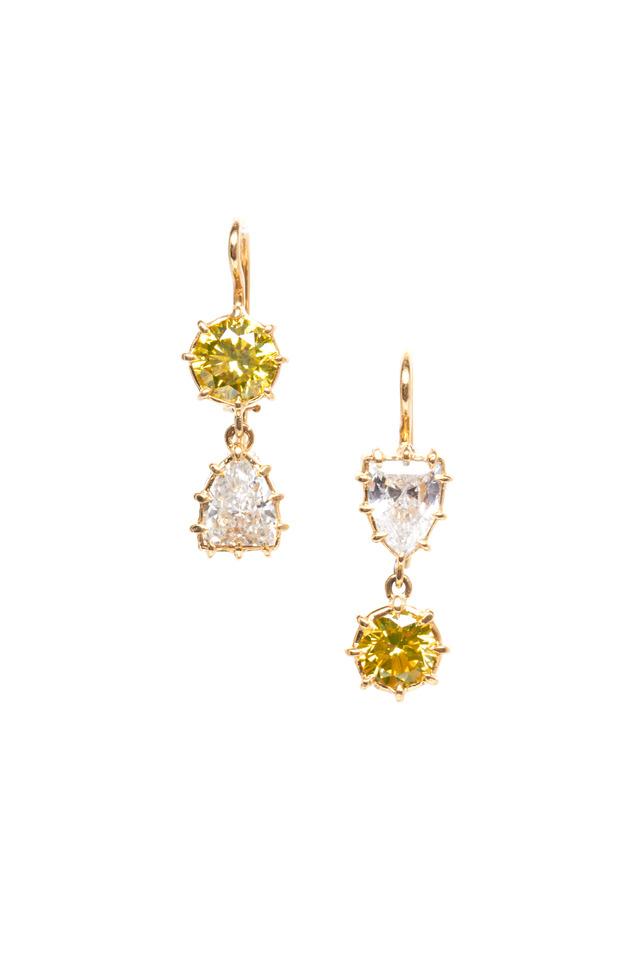 Yellow Gold White & Yellow Diamond Earrings