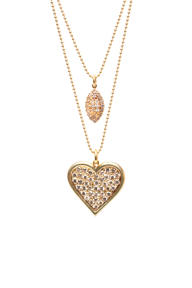 Gold 2 Chain Antique Pavé Diamond Heart Necklace