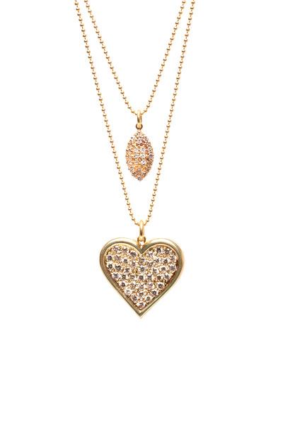Renee Lewis - Gold 2 Chain Antique Pavé Diamond Heart Necklace