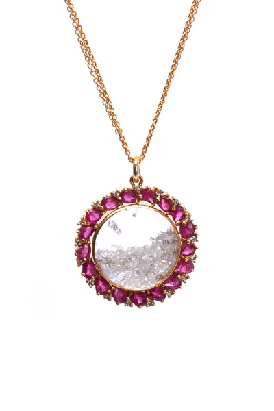 Renee Lewis - Yellow Gold Antique Ruby Diamond Shake Necklace