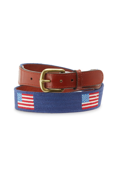 Smathers & Branson - American Navy Blue & Chestnut Needlepoint Belt