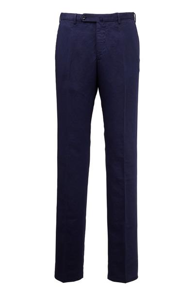 Incotex - Chinolino Navy Blue Linen & Cotton Trousers