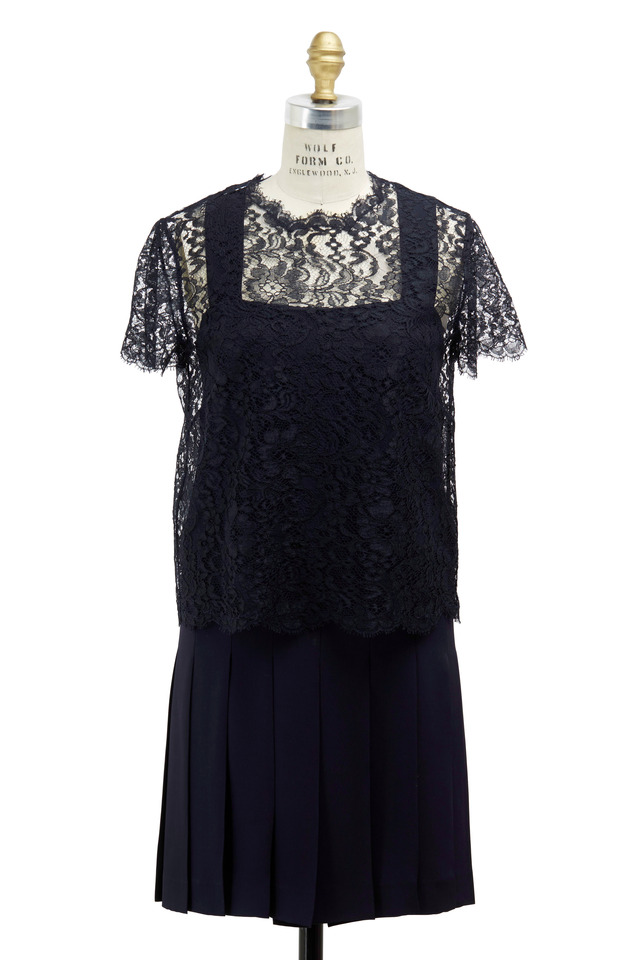 Navy Blue Silk Popover Dress